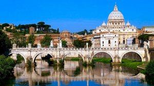 Vatican City Bridge and St Peters